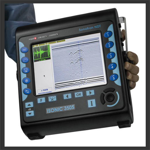 Sonotron ISonic 3505 Ultrasonic Flaw Detector showing it in action with A-Scan and TOFD displayed.